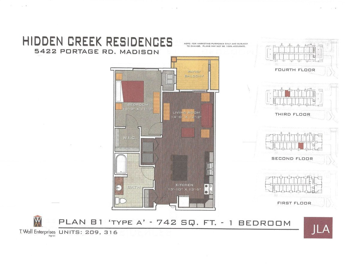 1 Bedroom 1 Bathroom Apartment for rent at Hidden Creek Residences in Madison, WI