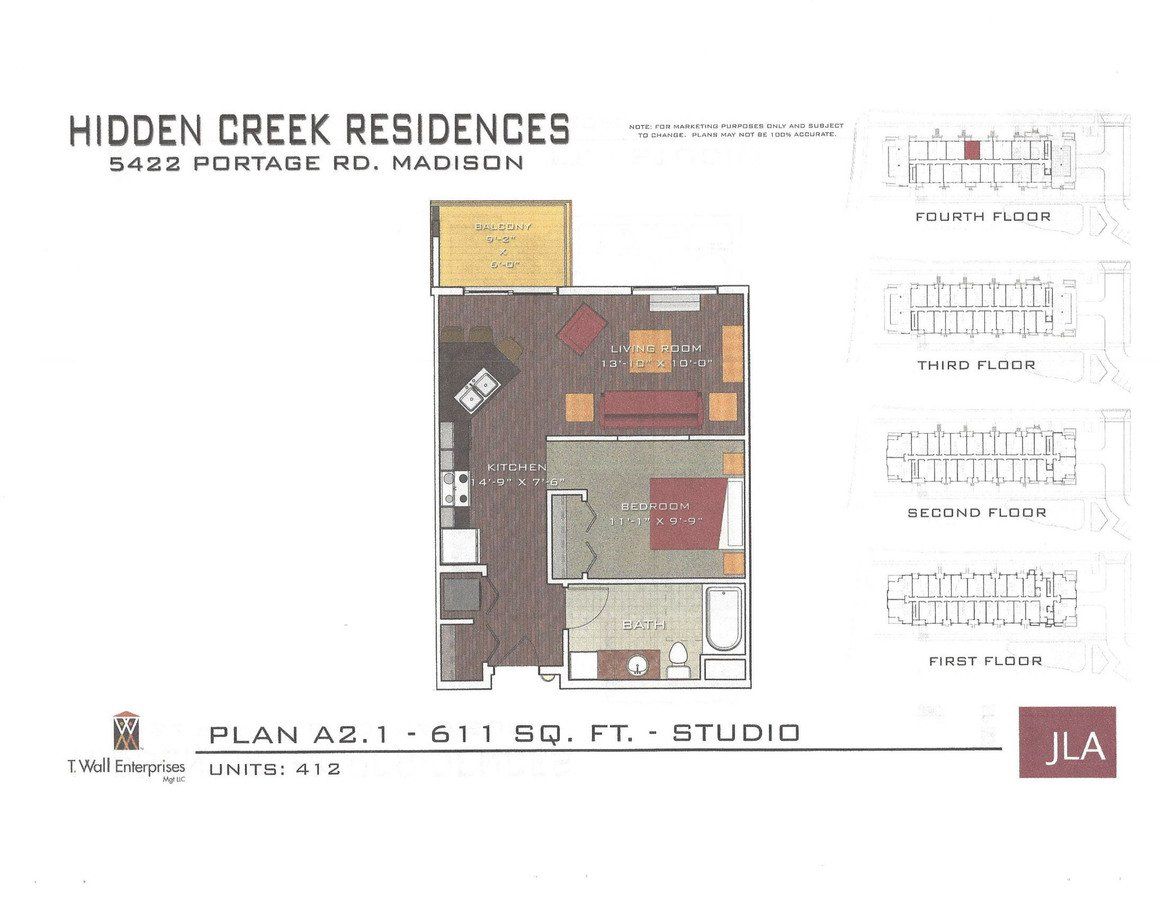Studio 1 Bathroom Apartment for rent at Hidden Creek Residences in Madison, WI