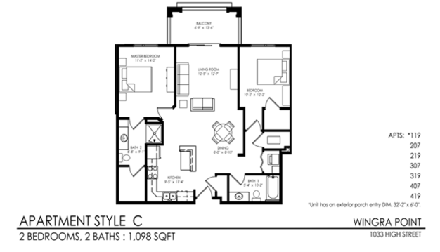 2 Bedrooms 2 Bathrooms Apartment for rent at Wingra Point in Madison, WI