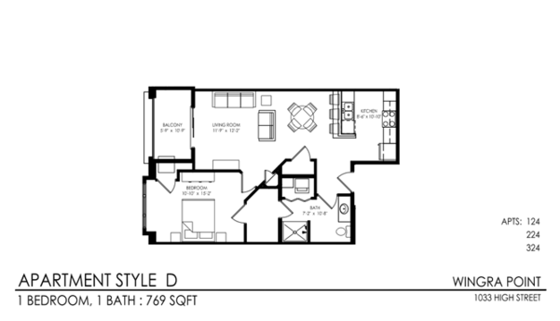 1 Bedroom 1 Bathroom Apartment for rent at Wingra Point in Madison, WI