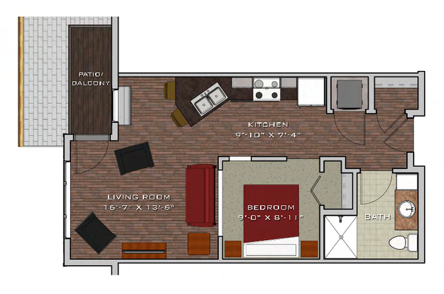 Studio 1 Bathroom Apartment for rent at Prairie Trail Residences in Sun Prairie, WI