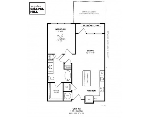 1 Bedroom 1 Bathroom Apartment for rent at Alexan Chapel Hill in Chapel Hill, NC