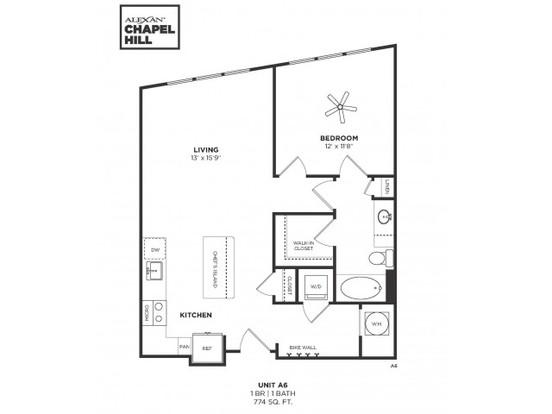 1 Bedroom 1 Bathroom Apartment for rent at Alexan Chapel Hill in Chapel Hill, NC