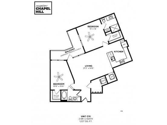 2 Bedrooms 2 Bathrooms Apartment for rent at Alexan Chapel Hill in Chapel Hill, NC