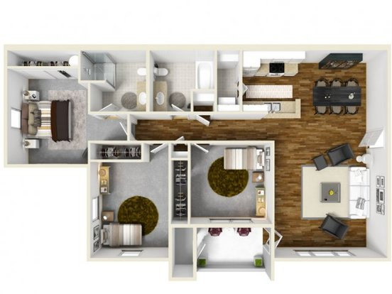 3 Bedrooms 2 Bathrooms Apartment for rent at The Bailey At Amazon Creek in Eugene, OR
