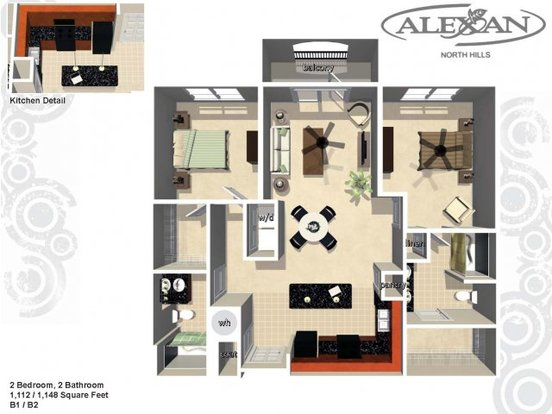 2 Bedrooms 2 Bathrooms Apartment for rent at Alexan North Hills in Raleigh, NC