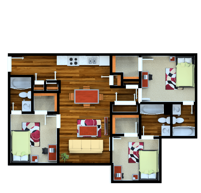 3 Bedrooms 3 Bathrooms Apartment for rent at Campus Crossings Durham in Durham, NC