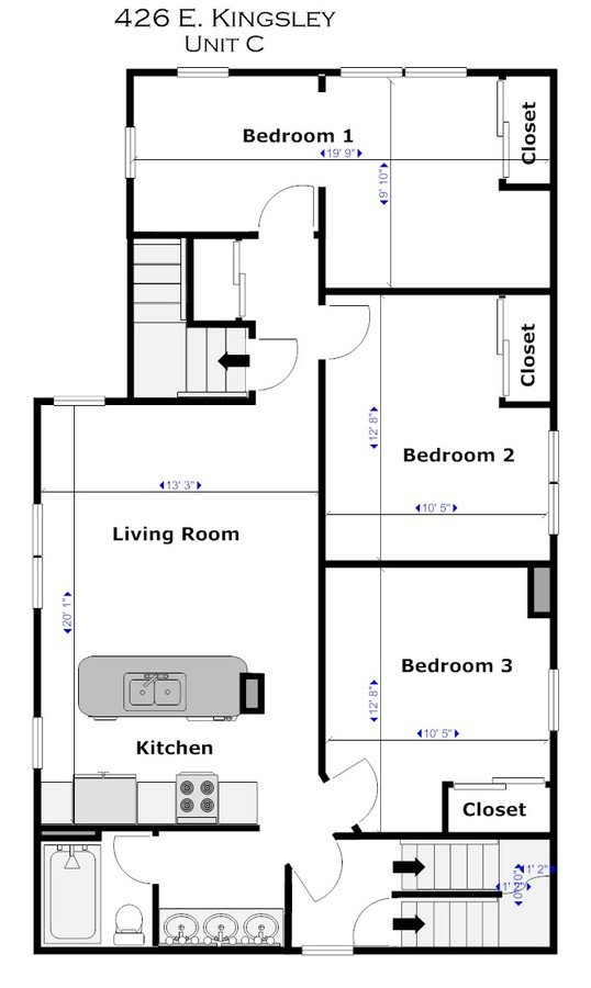 3 Bedrooms 1 Bathroom Apartment for rent at 426 E Kingsley St in Ann Arbor, MI