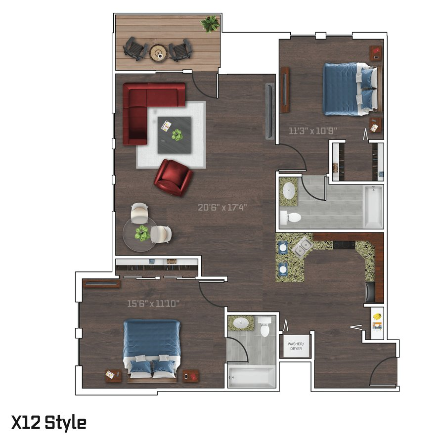 2 Bedrooms 2 Bathrooms Apartment for rent at Bedford Crossing in Madison, WI