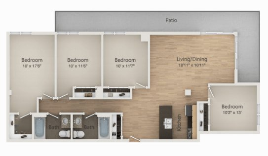4 Bedrooms 2 Bathrooms Apartment for rent at The Embassy in Madison, WI