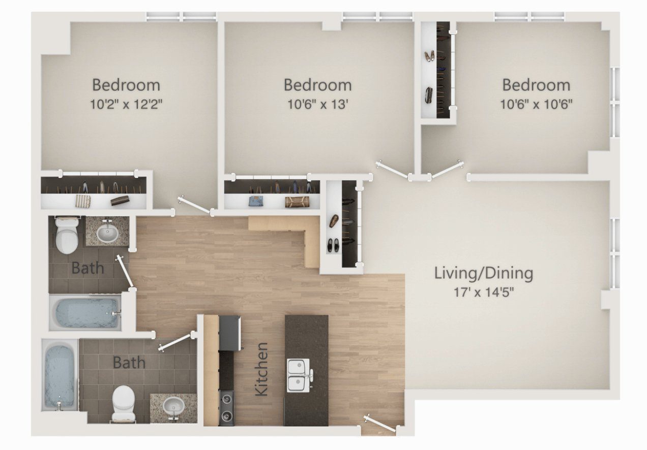 3 Bedrooms 2 Bathrooms Apartment for rent at The Embassy in Madison, WI