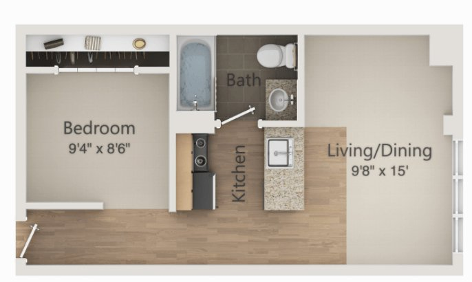 1 Bedroom 1 Bathroom Apartment for rent at The Embassy in Madison, WI