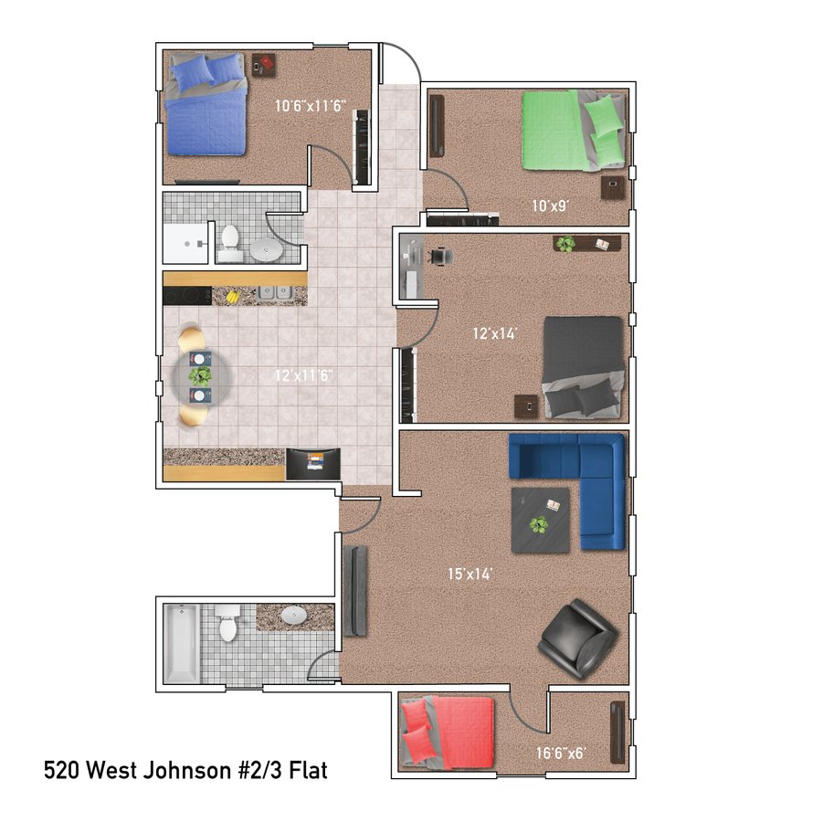 4 Bedrooms 2 Bathrooms Apartment for rent at 520 West Johnson St. in Madison, WI