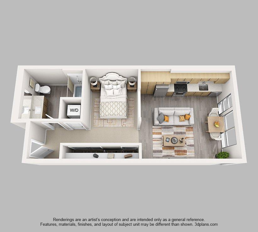 Studio 1 Bathroom Apartment for rent at Angelene in Los Angeles, CA