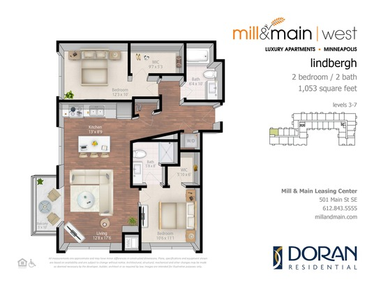 2 Bedrooms 2 Bathrooms Apartment for rent at Mill & Main in Minneapolis, MN