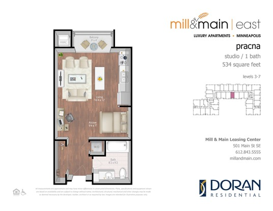 Studio 1 Bathroom Apartment for rent at Mill & Main in Minneapolis, MN