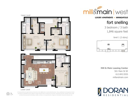 2 Bedrooms 3 Bathrooms Apartment for rent at Mill & Main in Minneapolis, MN