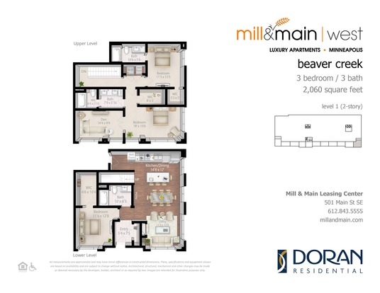 3 Bedrooms 3 Bathrooms Apartment for rent at Mill & Main in Minneapolis, MN