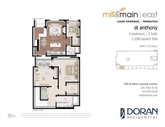 3 Bedrooms 2 Bathrooms Apartment for rent at Mill & Main in Minneapolis, MN