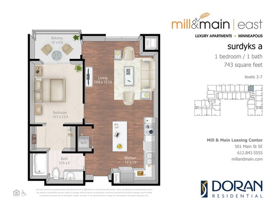 1 Bedroom 1 Bathroom Apartment for rent at Mill & Main in Minneapolis, MN