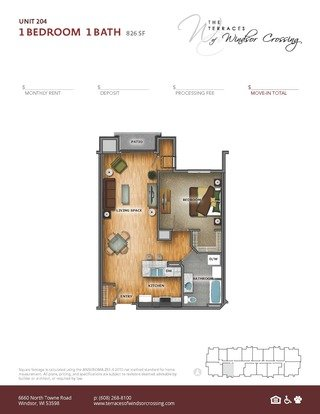 1 Bedroom 1 Bathroom Apartment for rent at The Terraces Of Windsor Crossing in Windsor, WI