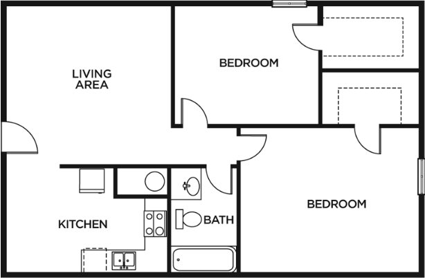 2 Bedrooms 1 Bathroom Apartment for rent at Forest Village & Woodlake in Columbia, MO