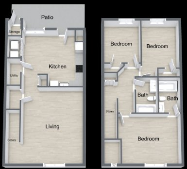 3 Bedrooms 2 Bathrooms Apartment for rent at The Bluffs At Cherry Hill in Omaha, NE