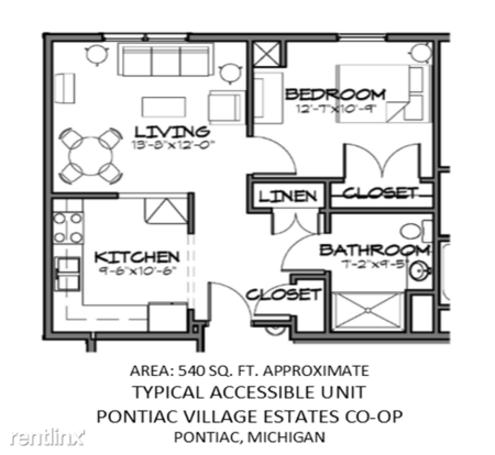 1 Bedroom 1 Bathroom House for rent at Pontiac Village Estates Co Op Senior Apartments in Pontiac, MI