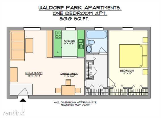 1 Bedroom 1 Bathroom Apartment for rent at Waldorf Park Apartments in Pittsburgh, PA