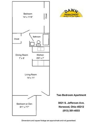 2 Bedrooms 1 Bathroom Apartment for rent at South Jefferson in Cincinnati, OH