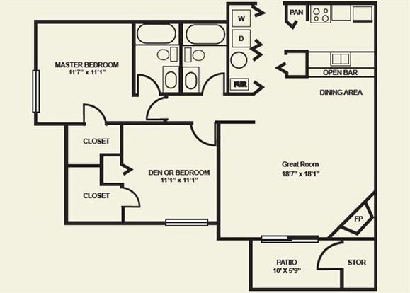2 Bedrooms 2 Bathrooms Apartment for rent at Spyglass Apartments in Indianapolis, IN