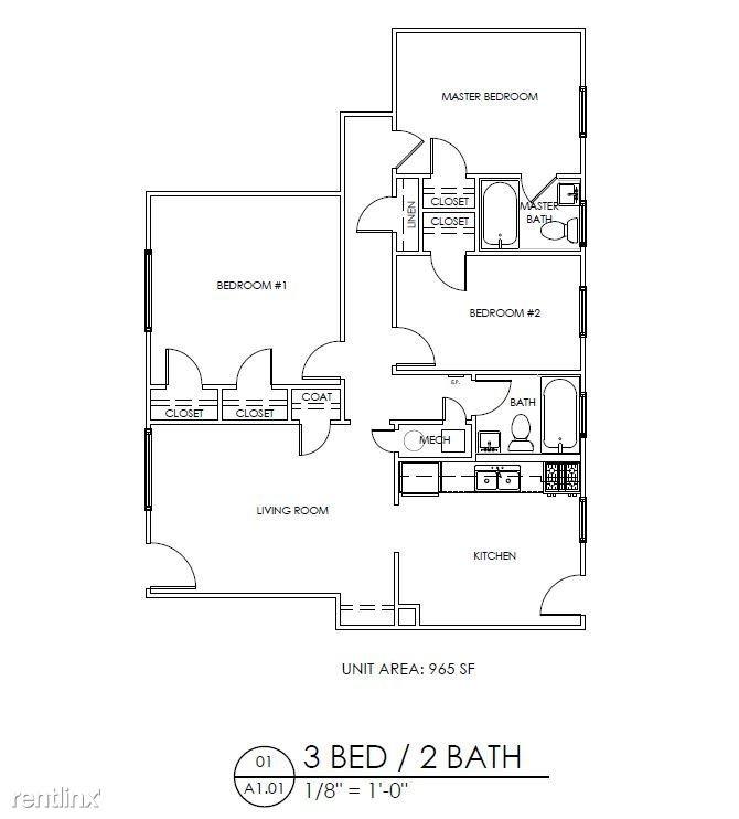 3 Bedrooms 2 Bathrooms Apartment for rent at Gardens At Washington Park 1 in Atlanta, GA