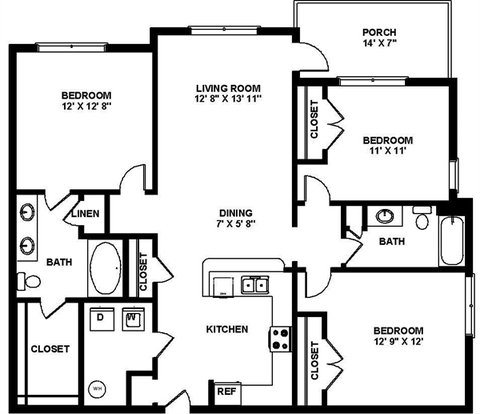 3 Bedrooms 2 Bathrooms Apartment for rent at Headwaters Apartment Homes in Wilmington, NC