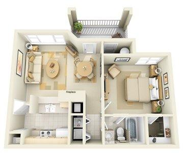 1 Bedroom 1 Bathroom Apartment for rent at Edinborough at the Park Apartments in Durham, NC