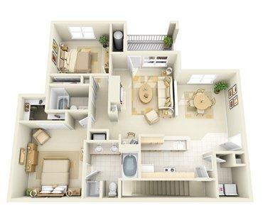 2 Bedrooms 2 Bathrooms Apartment for rent at Edinborough at the Park Apartments in Durham, NC