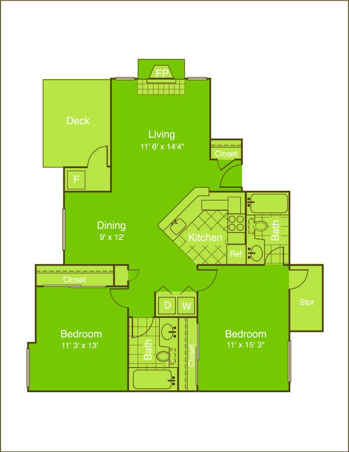 2 Bedrooms 2 Bathrooms Apartment for rent at Chestnut Ridge in Denver, CO