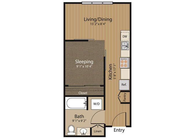 Studio 1 Bathroom Apartment for rent at Array Apartments in Seattle, WA