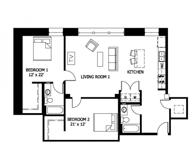 2 Bedrooms 2 Bathrooms Apartment for rent at Cupples Station in St Louis, MO