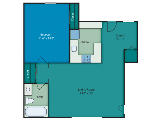 1 Bedroom 1 Bathroom Apartment for rent at Chateau Terrace Apartments in Wilmington, NC