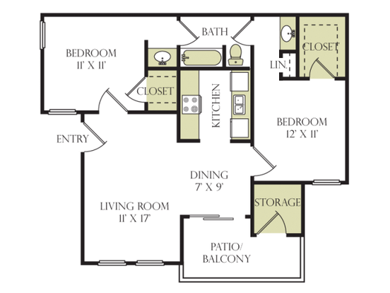 2 Bedrooms 1 Bathroom Apartment for rent at Beacon Hill in Charlotte, NC
