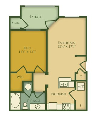 1 Bedroom 1 Bathroom Apartment for rent at The Villages at Pecan Grove in Holly Springs, NC