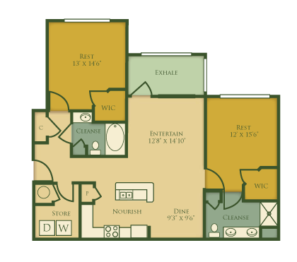 2 Bedrooms 2 Bathrooms Apartment for rent at The Villages at Pecan Grove in Holly Springs, NC