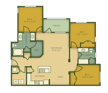 3 Bedrooms 2 Bathrooms Apartment for rent at The Villages at Pecan Grove in Holly Springs, NC