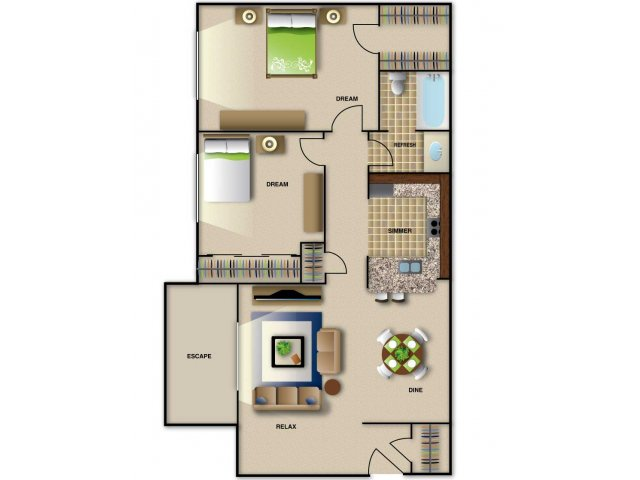 2 Bedrooms 1 Bathroom Apartment for rent at Brentwood West Apartments in Raleigh, NC
