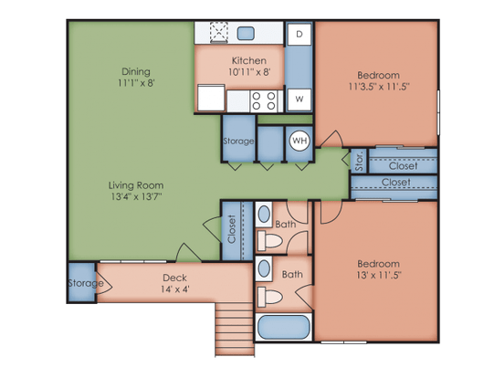 2 Bedrooms 1 Bathroom Apartment for rent at Green Meadows Apartments in Raleigh, NC