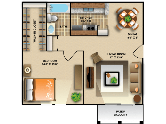 1 Bedroom 1 Bathroom Apartment for rent at Montecito West Apartments in Raleigh, NC