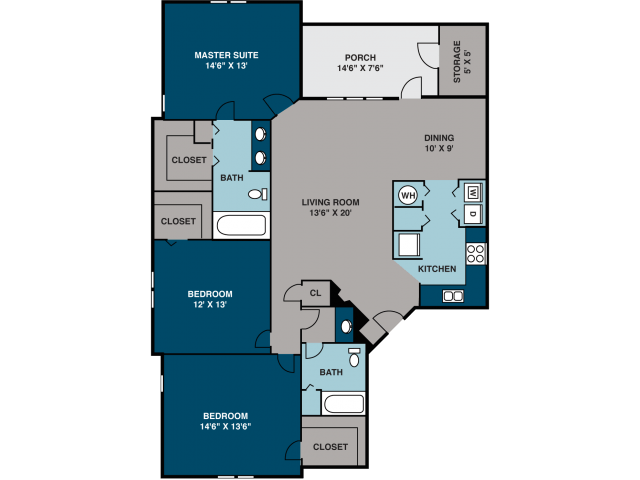 3 Bedrooms 2 Bathrooms Apartment for rent at Northridge Crossings Apartments in Raleigh, NC