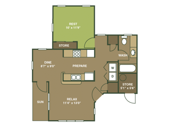 1 Bedroom 1 Bathroom Apartment for rent at Overlooke at Simms Creek in Raleigh, NC