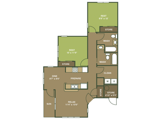 2 Bedrooms 2 Bathrooms Apartment for rent at Overlooke at Simms Creek in Raleigh, NC