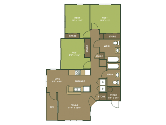 3 Bedrooms 2 Bathrooms Apartment for rent at Overlooke at Simms Creek in Raleigh, NC